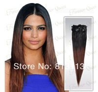 Discount!!Oxette ombre hair extensions with clips 5A Brazilian virgin remy hair Straight #1b/33 Two Tone Clip in Hair Extension