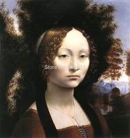 Ginevra de Benci by Leonardo Da Vinci, Oil Painting Reproduction, canvas oil painting,Handmade,high quality,Free fast shipping