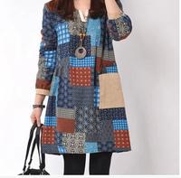 E-Unique New 2014 Autumn Women'S Plus Size National Trend Print Patchwork Fancy Long-Sleeve Fluid One-Piece Dress LWB27