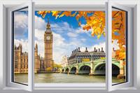 New Big Ben Landscape   PVC Fake Window Sticker 70*46cm Sofa Background Art Mural Home Decor Removable Wall Sticker zl-1