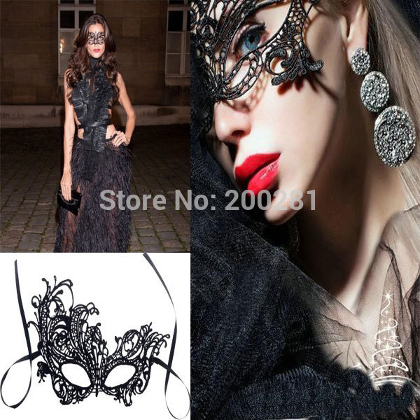 New Fashion Black Lace Party Mask Sexy Black Lace On Half Face Mask Veil Mysterious Hollow Mask For Make Up Ball Party Prom(China (Mainland))