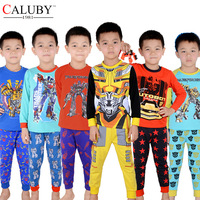 2015 new winter cartoon cotton children pajamas set Transformers print kids sleepwear hot sale boys  homewear  6 sets lot