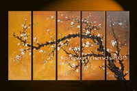 Free shipping -H308--5 panel Combination Beautiful Asian Blossom Abstract Zen Art Painting