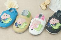 2015 Hot Sale peppa pig Genuine Leather Lovely Baby Prewalker Soft Sole Infant toddler shoes 0-24M Learning Walk Shoes