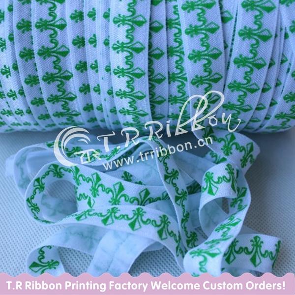 New! FOE fleur de lis printed elastic ribbon, High quality 5/8 inch elasticized webbing, Free shipping 50yards/lot(China (Mainland))