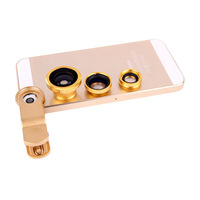 Golden Universal 3in1 Clip-On Fish Eye Lens Wide Angle Macro Mobile Phone Lens For iPhone 4 5 Samsung Galaxy S4 S5 All Phones