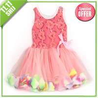 Retail 2014 new girl's clothes. Fashionable dress with rose petals. Christmas dress 11.11 big promotion free shipping