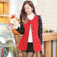 2014 New Women Winter Nizi Overcoat Korean Fashion Slim Jacket Raccoon Fur Decorative Thin Single-Breasted Coats Women