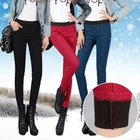 New 2014 Fashion Slim Pants Trousers Mid Waisted Thick Warm Skinny Pants Women Ladies Black/Red Slim Thick Winter Pants Trousers
