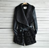 Spring & winter 2014 Hot Sell New European and American Fashion Women Fur Coat Slim Short PU Leather Jacket Women Black