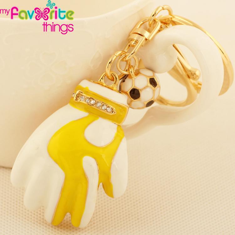 New Cute Small Enamel Sport Glove Football Key Chain Ring Fashion Rhinestone Trinket Keychain for Men Boy Gift Bag Charm Pendant(China (Mainland))