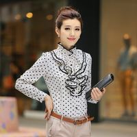 shirt women's Stand collar Slim flouncing plus size chiffon blouse Long-sleeved Polka Dot Shirt Occupational shirt