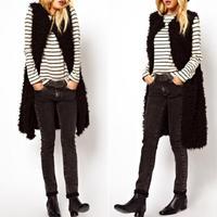 Fluffy Sleeveless Long Faux Sheep Fur Vest Warm Outwear Woman Jacket # 65267