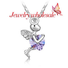 Romantic fairy tale love Cupid heart necklace for lover for gift