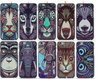 Animal head series cute TIGER LION MONKEY WOLF ELEPHANT Phone cover case For iphone 6 4.7 inch case Free shipping