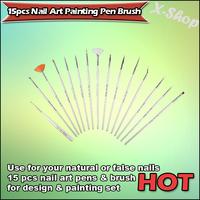 X-SHOP 15pcs Nail Art Painting Pen Brush(White)