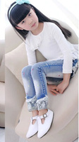 Free shipping 2014 winter children denim pants baby girls kids jeans girls new fashion  trousers child denim clothes t1030