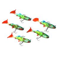 5Pcs 8.5cm 14g Colourful Soft Bait Lead Head Sea Fish Lures Bass Fishing Tackle Sharp Treble Hook T Tail