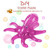 Free shipping 3D stereoscopic crystal puzzle flash octopus assembled model educational toys. DIY Christmas gift