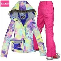 New ! Pretty Ink Flower Women Ski Suit Waterproof Breathale Outdoor Skiing Jacket Warm Clothes Pants Fur Hat Brand Designer