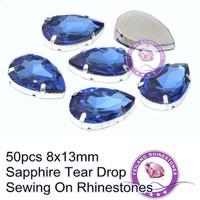 8x13mm Flatback Sewing On Rhinestones Sapphire 50pcs Tear Drop For Decoration