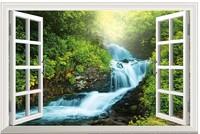 New Falls Landscape   PVC Fake Window Sticker 70*46cm Sofa Background Art Mural Home Decor Removable Wall Sticker fj-38