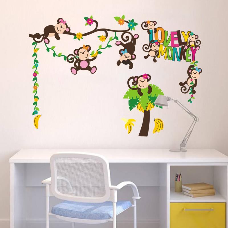 lovely nursery monkey wall decals
