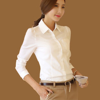 women office shirt OL commuter Single-breasted women blouse long sleeve Slim Chiffon white shirt