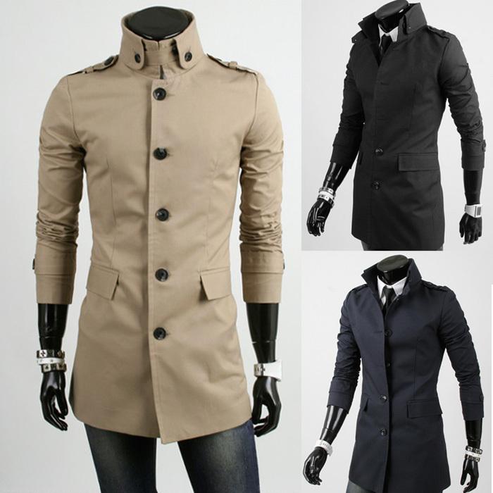 Mens Trench Jackets Long Sleeve Mens Autumn Jackets Long Mandarian Collar Cotton Casual Windproof Jackets Coats Wholesales(China (Mainland))