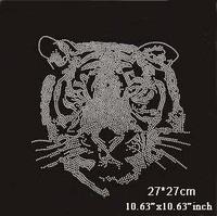 Cool tiger head pattern hot fix rhinestone,heat transfer design rhinestone motif,embellishment for gament(ss-1948-1)
