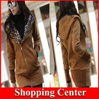 2014 new Autumn Sweatshirt Sport Suit Women Long Sleeve Zipper Women Hoody Leopard Printed Sweatshirt Casual Cardigans hot
