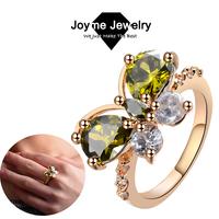 Joyme Brand 2014 women Rose Gold Rings Austrian Crystal Butterfly finger ring Wedding Rings Jewelry Free Shipping RG0005