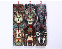 New Fashion Cute Aztec Animal Face Leather Case Cover For Apple iPhone 6 4.7 Elephant Tiger Owl Orangutan Bear Kitten Wolf Case