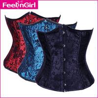 Sexy Lingerie 2014 Hot Style Black Blue Red Embroidery Lace Underbust Corset Bustier #4114.C Plus size S M L XL XXL