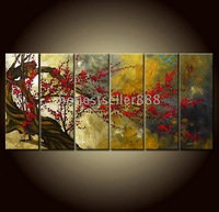 Free shipping -H315-6 panel Combination Beautiful Asian Blossom Abstract Zen Art Painting