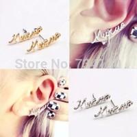 EX177 cheap jewelry wholesale Korean fashion punk style vintage letter Stud earrings Ear clip for women men