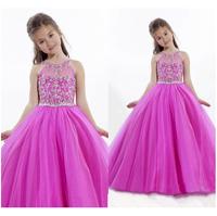 Lovely Ball Gown Flower Girl Dresses 2014 New Coming Floor Length Beaded O-Neck Tank Back Beaded Amazing Dress Free Shipping