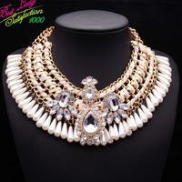 2014 New Arrival Fashion Gem Crystal Pearl Shourouk Big Choker ZA New Brand Good Quality Rope Hotsale Vintage Jewelry 9603