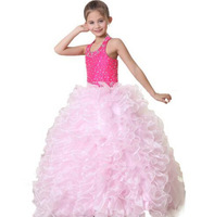 2015 Newest Design Crew Neckline Excellent Real Images Organza Beads Ball Gown Flower Girls' Dresses Girls Pageant Dresses