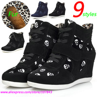 Winter Fur Skull ASH Fashion Wedges Sneakers,Snow Boots,Genuine Leather 9-syles,Height Increasing 6cm,Size 35~40,Women's Shoes