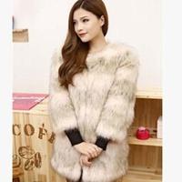 New 2014 Autumn Winter Hot Sale Fashion Women Fur Coat Knitwear Long Sleeve Loose Faux Fur Cardigan Coat Jacket