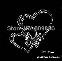 Lovely heart design hot fix rhinestones heat transfer design iron on motifs patches,wholesale rhinestones(ss-6027)