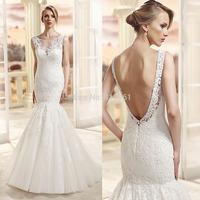 Sexy Women Mermaid Bridal Dresses Fishtail 2015 Scoop Lace Open Back Wedding Gowns Floor Length Vestido de Noiva Sereia W3608