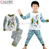 2015 new winter cartoon cotton children pajamas set Frozen Olaf print kids sleepwear hot sale boys  homewear  6 sets lot