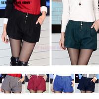 NEW Fashion 2014 Autumn Winter Women's Shorts Plus Size Casual Loose Pants Boot Cut Woolen High Waist Short For Women 2035