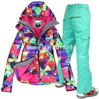 free shipping women new snowboard suit Colorful ski jacket+pants windproof waterproof winter warm ski wear