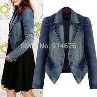 Plus Size XL-5XL New European and American Style Denim Jacket Short Design Long Sleeve Slim Coat blazer feminino ,Free Shipping