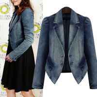 Plus Size XL-5XL New European and American Style Denim Jacket Short Design Long Sleeve Slim Coat feminino ,Free Shipping