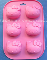Wholesale/retail,free shipping, 6 hole KT cat cake mould handmade soap  silicone cake mold baking molds