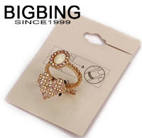 BigBing jewelry fashion golden heart crystal ball finger ring price for 2 Good quality nickel free Free shipping! L918